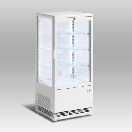 Display køler 78 liter glas på 4 sider